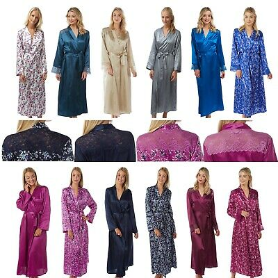 Ladies Full Length Satin Dressing Gown Wrap Bath Robe Kimono Cover Up Plus Size