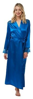 Ladies Plain Bright Blue Full Length Satin Dressing Gown Wrap Bath Robe PlusSize