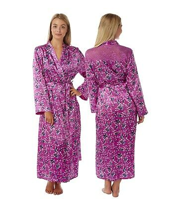 Ladies Full Length Pink Floral Satin Dressing Gown Wrap BathRobe Kimono PlusSize
