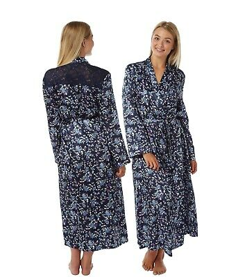 Ladies Full Length Navy Floral Satin Dressing Gown Wrap BathRobe Kimono PlusSize