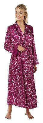 Ladies Floral Full Length Satin Dressing Gown Wrap Bath Robe Kimono Plus Size