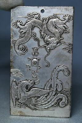 Decorative Handwork Noble Miao Silver Carved Dragon Auspicious Beautiful Pendant