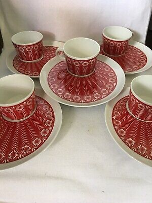 Arabia Finland Vintage Red Peacock Snack Plate w/ Cups. $125. Per set