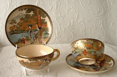 FINE QUALITY PAIR OF 19th CENTURY JAPANESE SATSUMA CUPS & SAUCERS – VGC