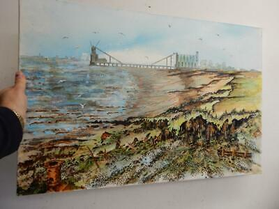 vintage old painting oil canvas Hull Humber landscape signed