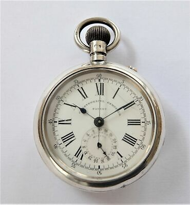 1895 Silver Cased Chronograph Centre Second 3/4 Plate Pocket Watch Working