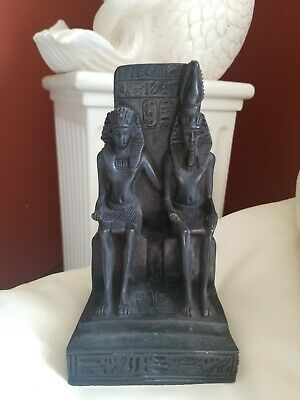 Vintage Egyptian Pharaoh King And Queen with Neferetum Statue Black Stone