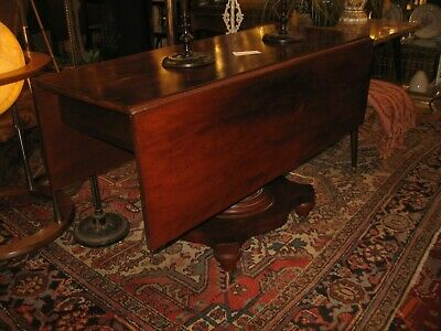"""MUST SEE  ANTIQUE AMERICAN 1850s EMPIRE SOLID MAHOGANY DROP LEAF TABLE 48"""" x 47"""""""