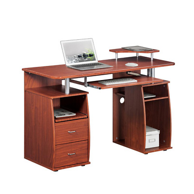 48 in. Rectangular Mahogany 2 Drawer Computer Desk with Keyboard Tray