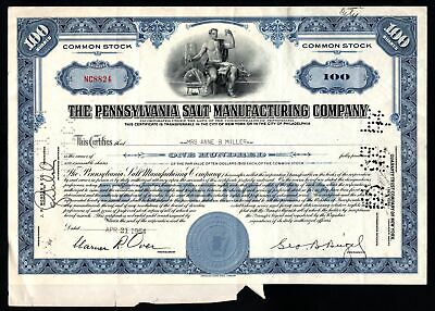 Stock Certificate Pennsylvania Salt Manufacturing Company Common 1954 100 Shares