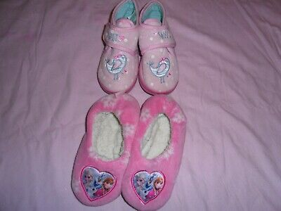 Girls Two Pairs Pink Slippers Size 8