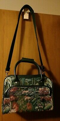 Vintage Atlantic Seahorse Green Tapestry Carry On Travel Luggage Weekend Tote