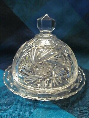 Lead Crystal, #2 Pinwheel Pattern Butter Dish With Dome - Vgc