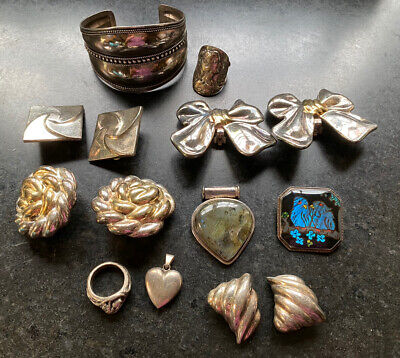 Lot of Vintage Sterling Silver Jewelry, use or scrap 178 grams
