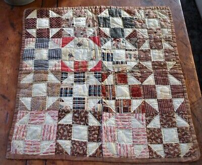 Antique Hand Stitched 19th c Calico Dolls Quilt with Homespun backing *
