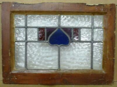 "OLD ENGLISH LEADED STAINED GLASS WINDOW Small Heart Design 19.25"" x 14"""