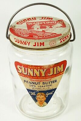 Rare Sunny Jim Peanut Butter Pail Glass Jar with Metal Lid & Bail