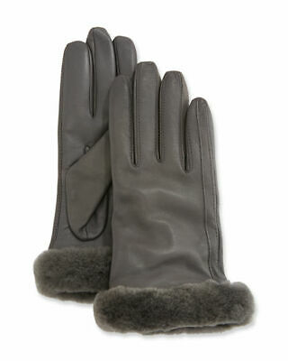 UGG Classic Leather Shorty Tech Gloves Womens Medium Charcoal Shearling Cuff NWT