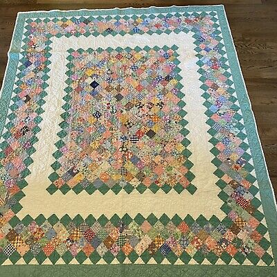 ANTIQUE 9 Patch QUILT Quilted 1930 Feed Sack Flour Vtg Green 68x80 Floral Flower