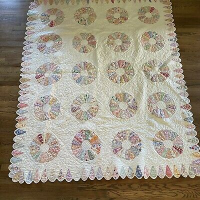 ANTIQUE Circle Fan Quilt Quilted 1930 Feed Sack Flour Vtg Green 70x89 Cream