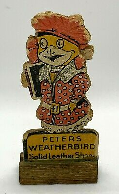 PETERS WEATHERBIRD SHOES ADVERTISING Cardboard Cutout on Wood Stand - Vintage