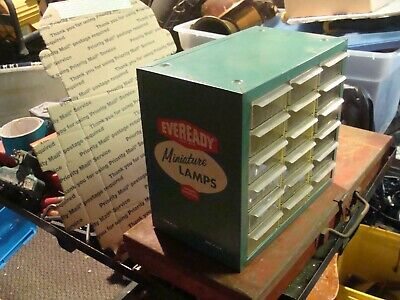 Vintage Eveready Miniature Lamps Counter-Top or wall Store Display Cabinet