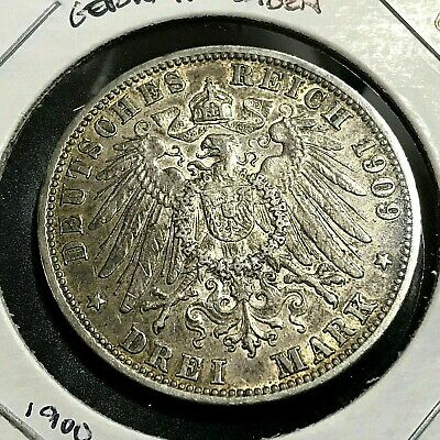 1907-G Germany Baden Silver 3 Marks Crown Coin