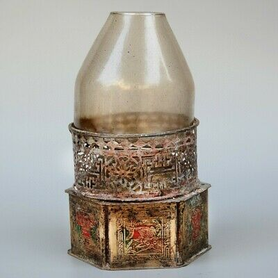 Collect China Old Bronze & Crystal Hand-Carved Bloomy Flower Bring Luck Oil Lamp