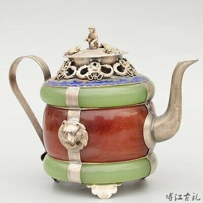 Collectable China Old Cloisonne Armour Jade Carve Delicate Noble Dragon Tea Pot