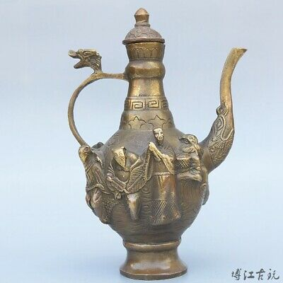 Collectable China Old Bronze Hand-Carved Delicate Noble Eight immortals Wine Pot