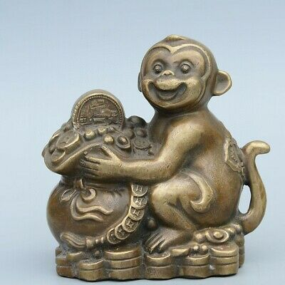 Collectable China Old Bronze Hand-Carved Monkey & Wealth Delicate Unique Statue