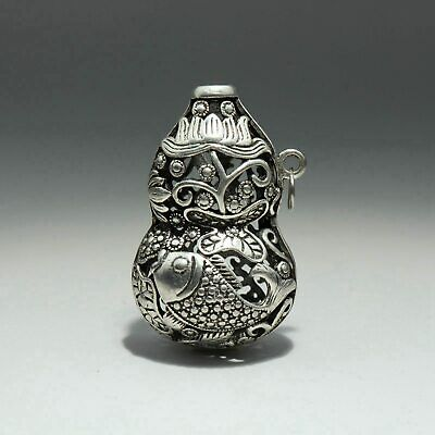 Collect Old Miao Silver Hand-Carved Lotus & Fish & Cucurbit Form Decor Pendant