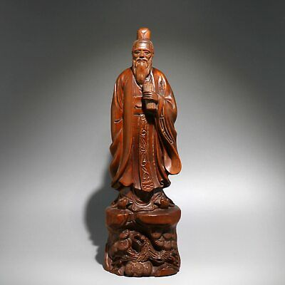 Collect Antique Boxwood Hand-Carved China Ancient Sage Confucius Precious Statue