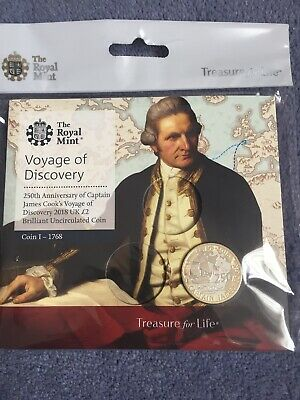 2018 Captain Cook Voyage Of Discovery  £2 Two Pound BU Coin In Royal Mint Pack .