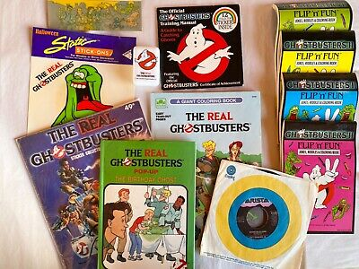 Lot of Vintage 1980's Ghost Busters Books and memorabilia , Fun !