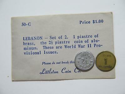 Lebanon 2 1/2 1 Piastre W/ Antique Original Littleton Coin Co Envelope 50-C🌈⭐🌈