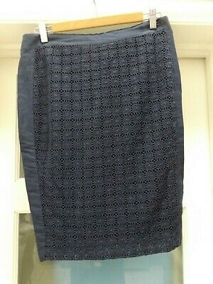 M&S pencil Skirt Navy Size 10 Cotton Lace effect Lined Autograph worn once