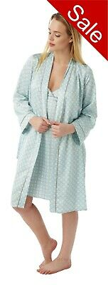 Ladies Satin Chemise & Bathrobe Dressing Gown Matching Set Size 8 - 32 PLUS SIZE