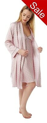 Pink Satin Chemise Nightie & Bathrobe Wrap Matching Set Sizes 8 - 32 Plus Size