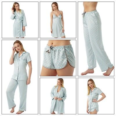 Ladies Aqua Satin Chemise Short Slip Nighty PJs Set Bathrobe size 8 - 32