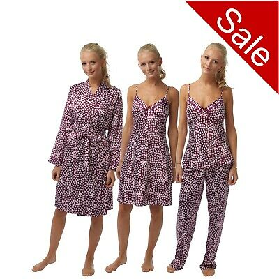 Ladies Purple Pink Floral Soft Satin Chemise Short Slip PJs Pyjama Bathrobe