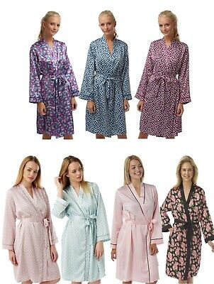 Ladies Satin Bathrobe Wrap Kimono Dressing Gown Robe Housecoat Cover up Silky