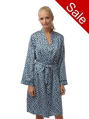Ladies Navy Satin Bathrobe Wrap Kimono Dressing Gown Robe Housecoat Cover up