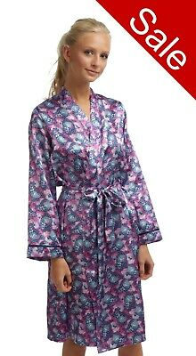 Ladies purple Satin Bathrobe Wrap Dressing Gown Kimono House Coat Size 8 10 12