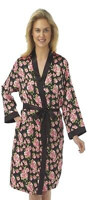 Ladies Red Satin Bathrobe Wrap Kimono Dressing Gown Robe Housecoat Coverup Silky