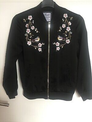 Girls black embroidered bomber jacket age 9-10 years