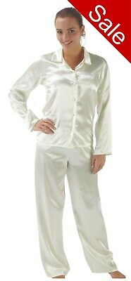 Ladies Cream Plain Satin Silky Soft PJs Pyjamas Full Length Long Sleeve Size 16