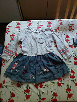 Baby Girl Dress NEXT age 2-3 years 98cm Jersey top and embroidered denim skirt