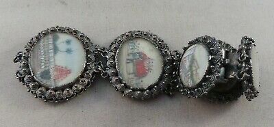 Good Antique Indian Silver Bracelet Inset With 7 Miniature Hand Painted Scenes