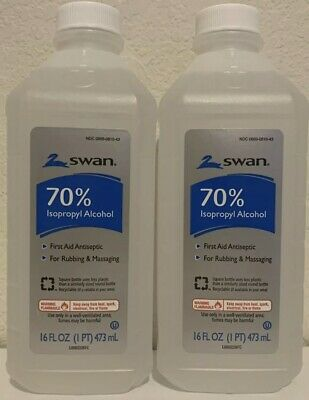 2X Swan First Aid Antiseptic 70% Isopropyl Rubbing Alcohol 16oz (32oz) Total